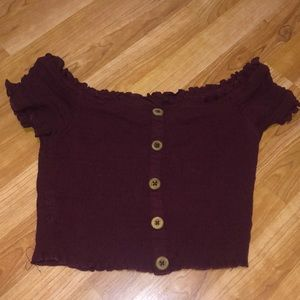 L.A. Hearts Maroon off the shoulder top size small